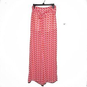 NEW Orange & Pink Sheer Palazzo Wide Leg Pants L